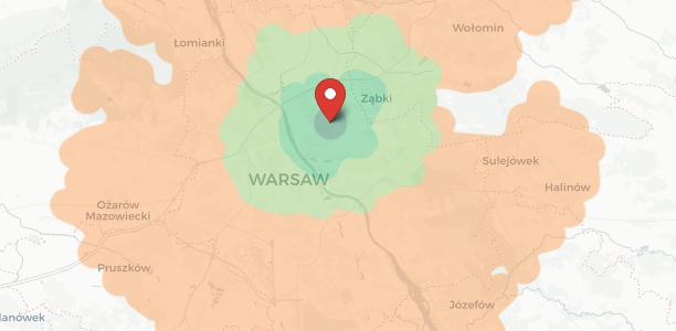 Strefy dojazdu w Warszawie i okolicach